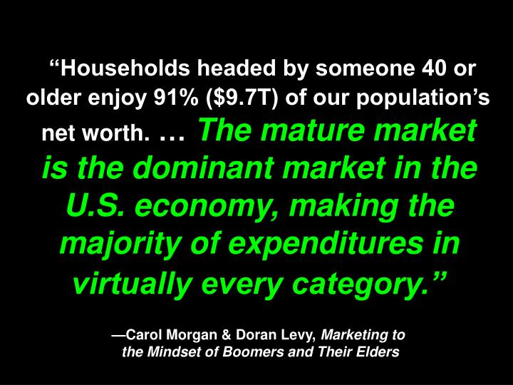 """""""Households headed by someone 40 or older enjoy 91% ($9.7T) of our population's net worth."""