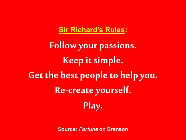 Sir Richard's Rules