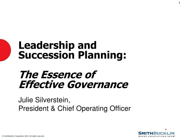 leadership and succession planning the essence of effective governance n.