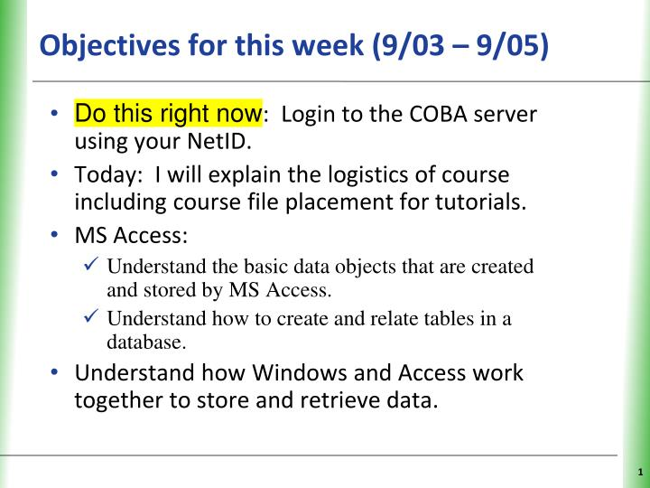 objectives for this week 9 03 9 05 n.