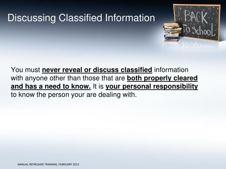 Discussing Classified Information