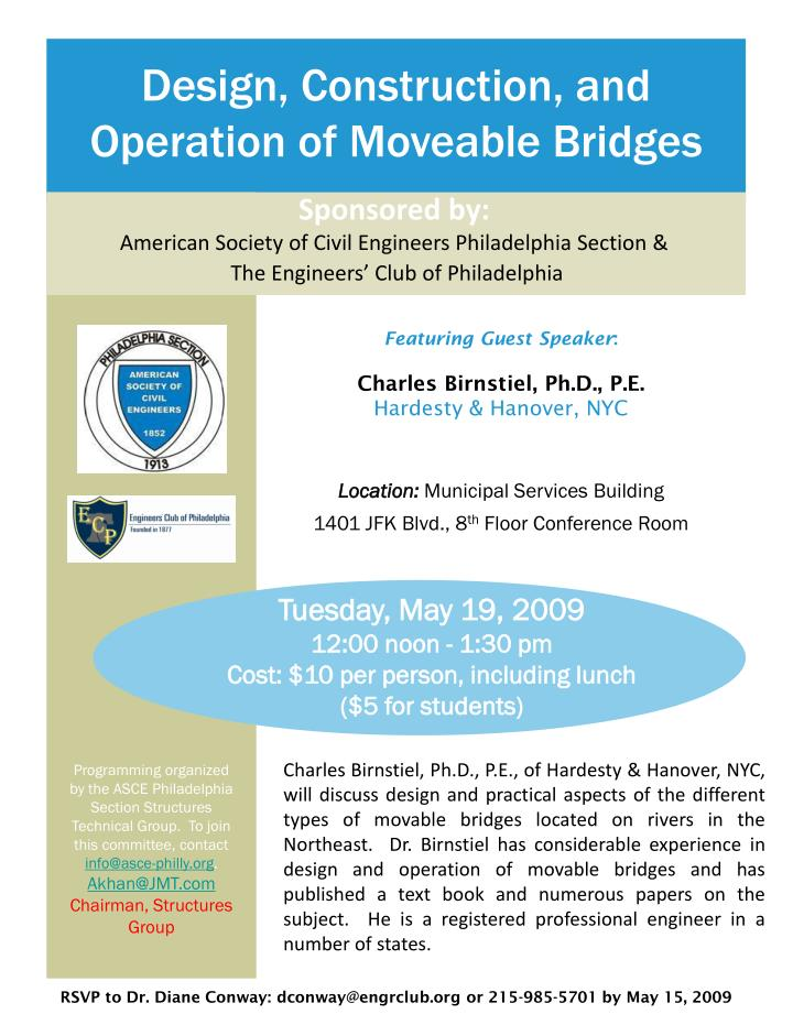 Design, Construction, and Operation of Moveable Bridges