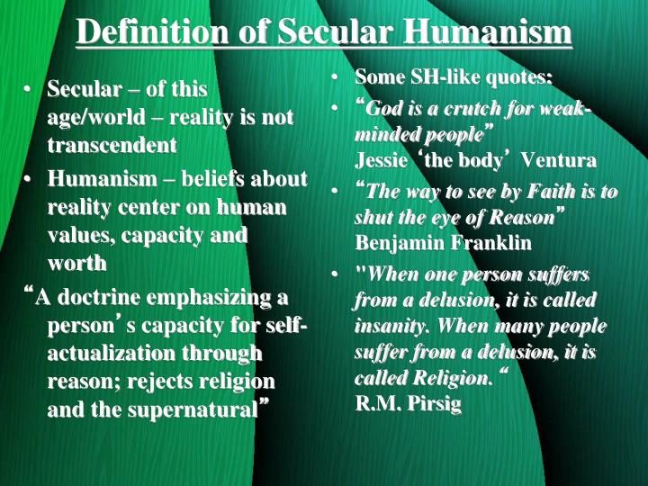 Secular – of this age/world – reality is not transcendent