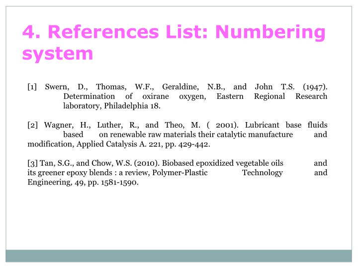4. References List: Numbering system