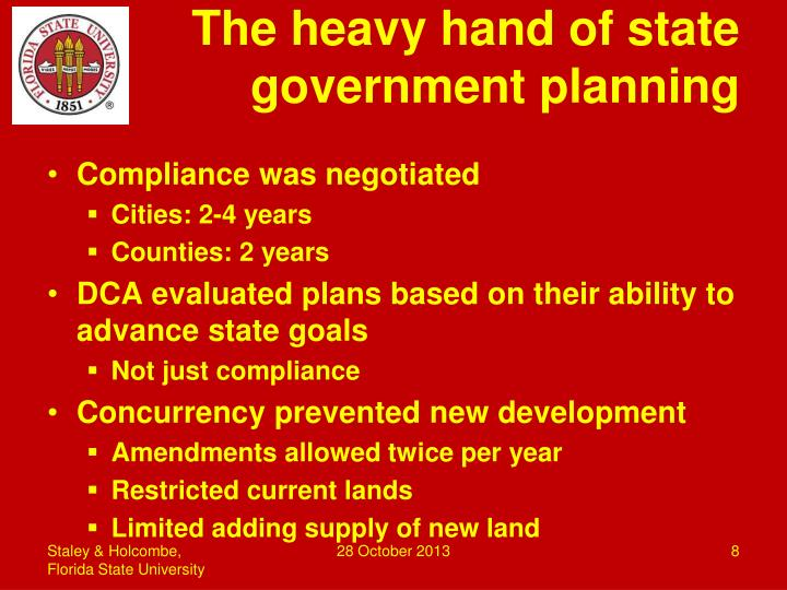 The heavy hand of state government planning