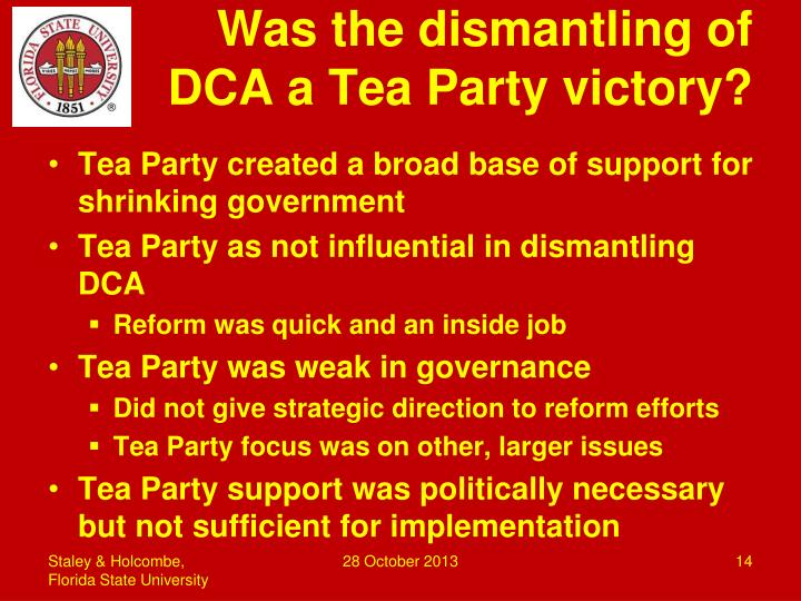 Was the dismantling of DCA a Tea Party victory?