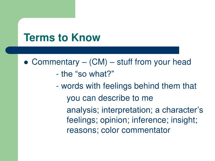 Terms to know1