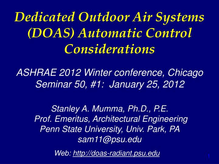 dedicated outdoor air systems doas automatic control considerations n.