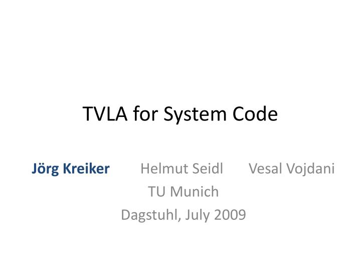 tvla for system code n.