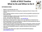 class of 2013 timeline what to do and when to do it