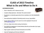 class of 2013 timeline what to do and when to do it1