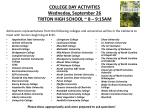 college day activities wedneday september 26 triton high school 8 9 15am