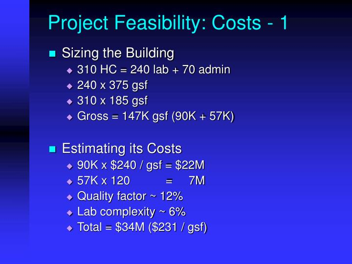 Project Feasibility: Costs - 1