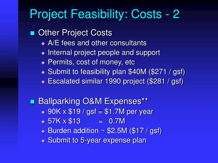 Project Feasibility: Costs - 2