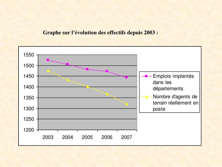 Graphe sur l'évolution des effectifs depuis 2003: