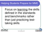 helping students prepare for mme3
