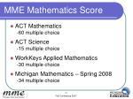 mme mathematics score