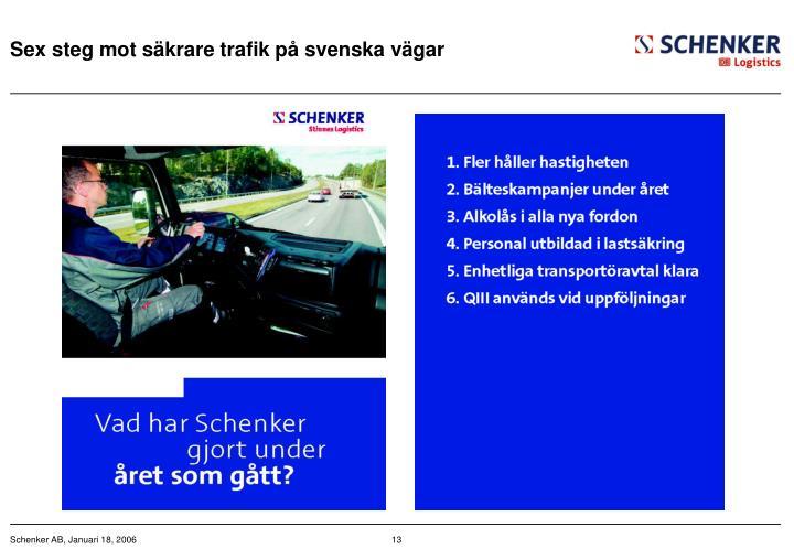 Sex steg mot säkrare trafik på svenska vägar