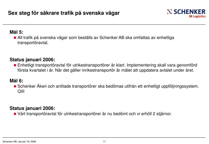 Sex steg för säkrare trafik på svenska vägar