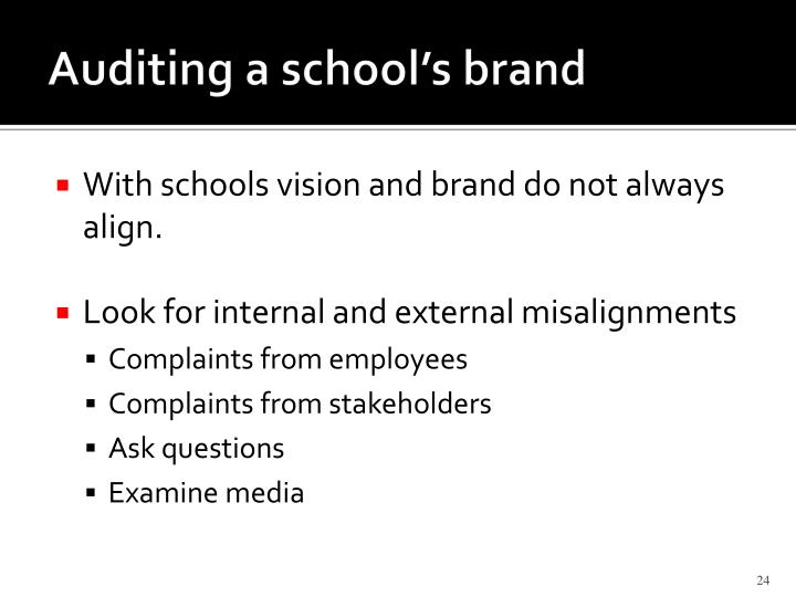 Auditing a school's brand