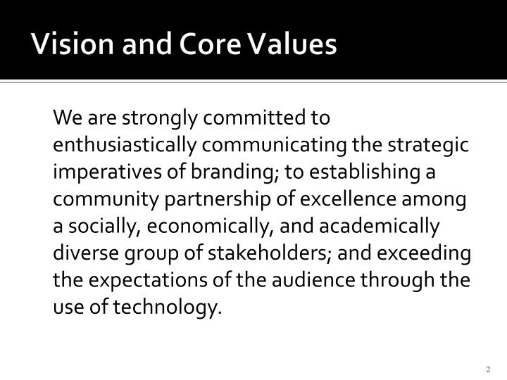 Vision and core values