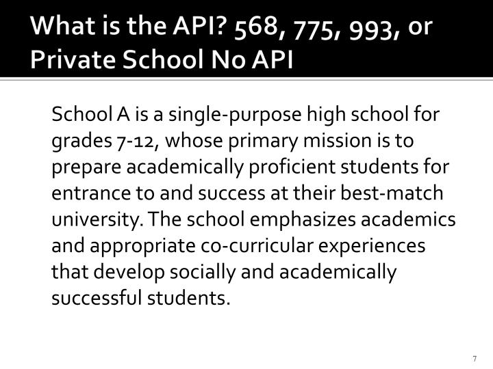 What is the API? 568, 775, 993, or Private School No API