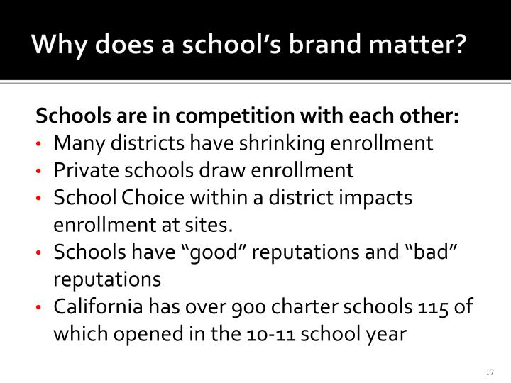 Why does a school's brand matter?