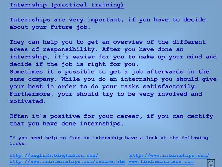 Internship (practical training)