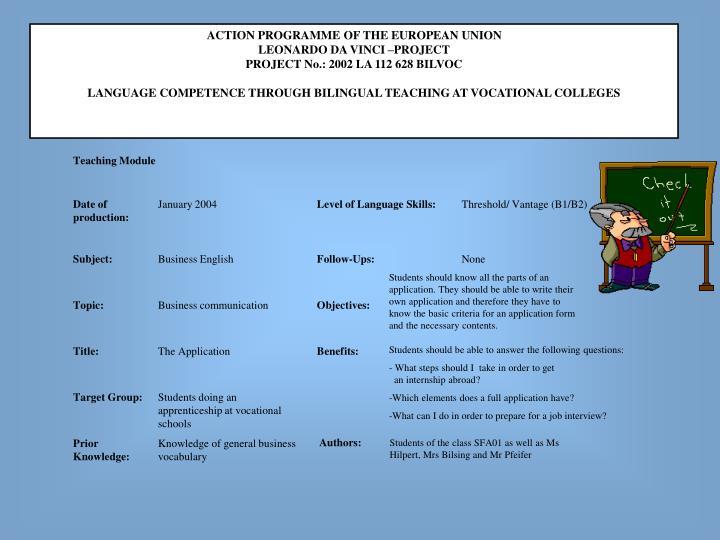 ACTION PROGRAMME OF THE EUROPEAN UNION