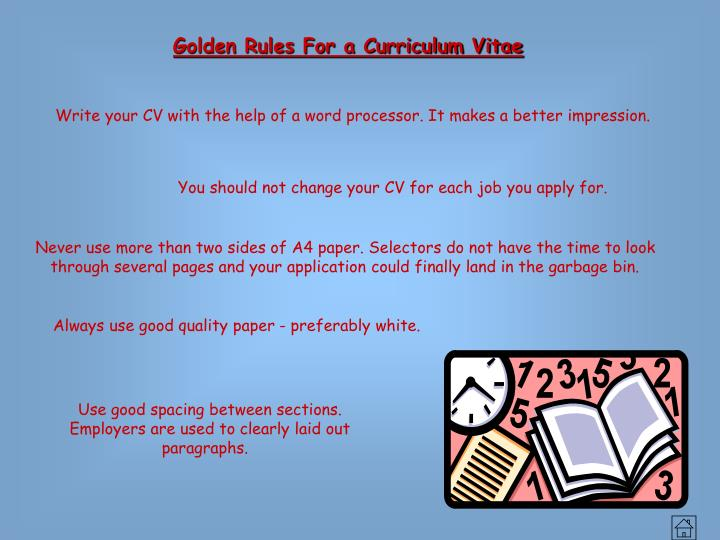 Golden Rules For a Curriculum Vitae