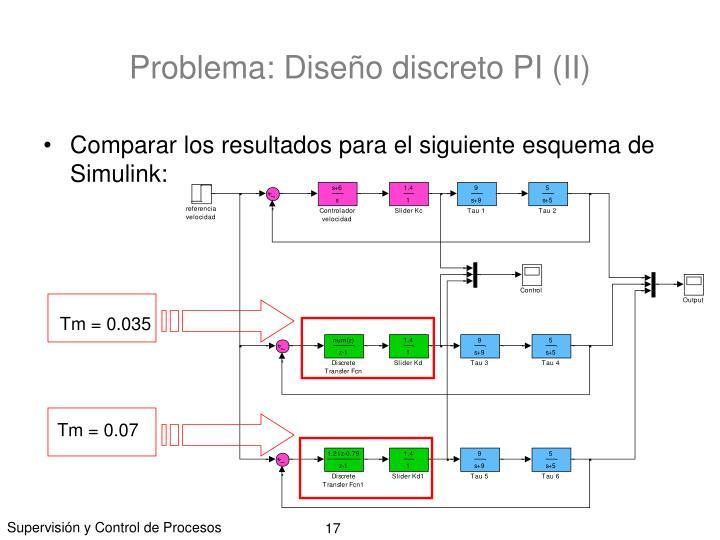 Problema: Diseño discreto PI (II)