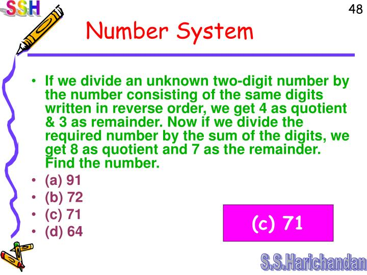 If we divide an unknown two-digit number by the number consisting of the same digits written in reverse order, we get 4 as quotient & 3 as remainder. Now if we divide the required number by the sum of the digits, we get 8 as quotient and 7 as the remainder. Find the number.