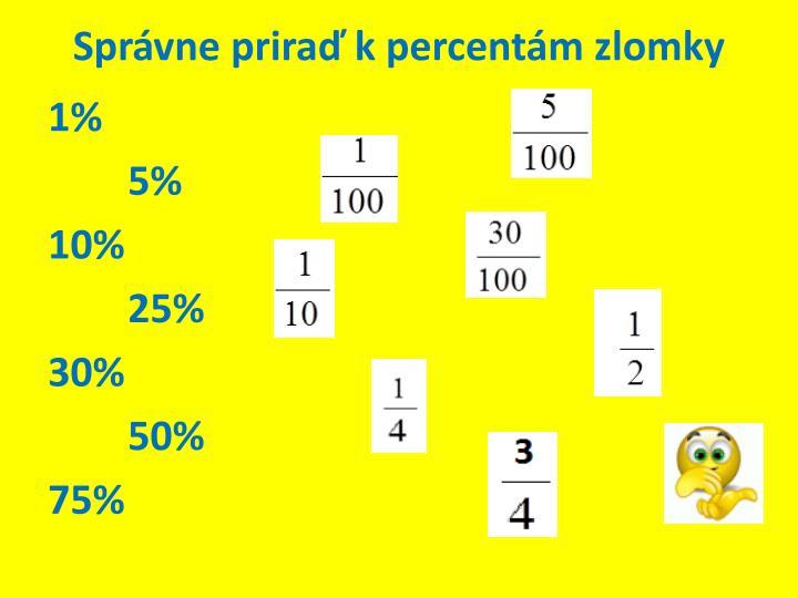 Správne priraď k percentám zlomky