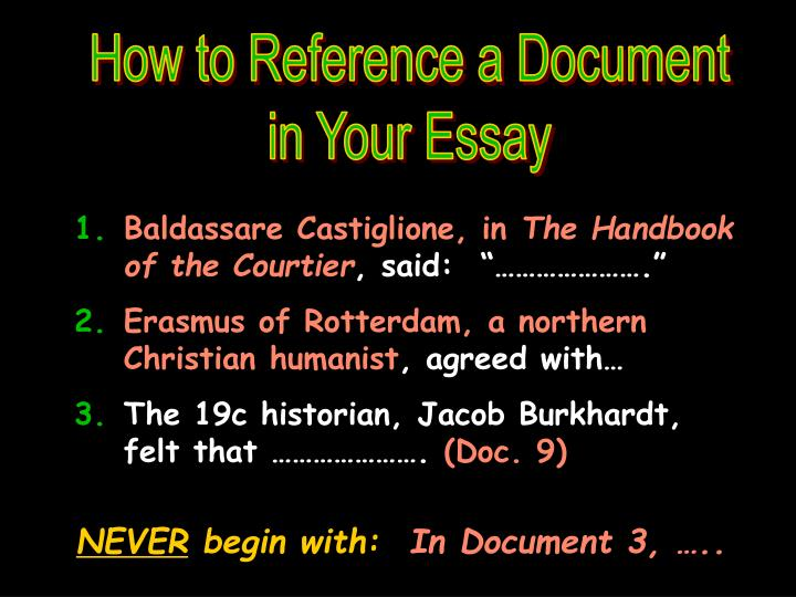 How to Reference a Document