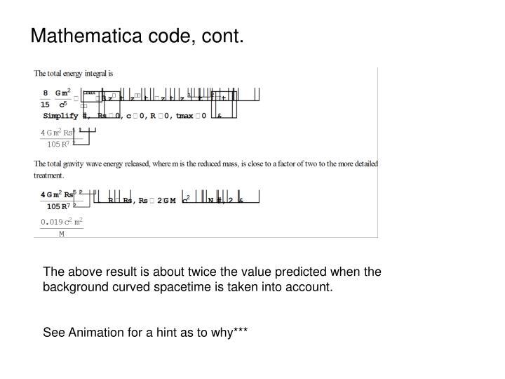Mathematica code, cont.