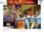 tire spray installation