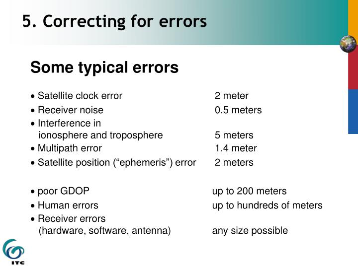 5. Correcting for errors