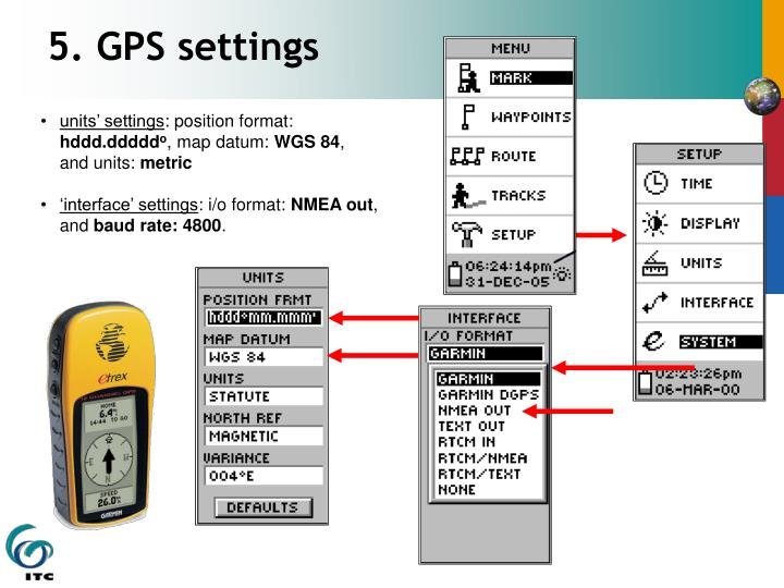 5. GPS settings