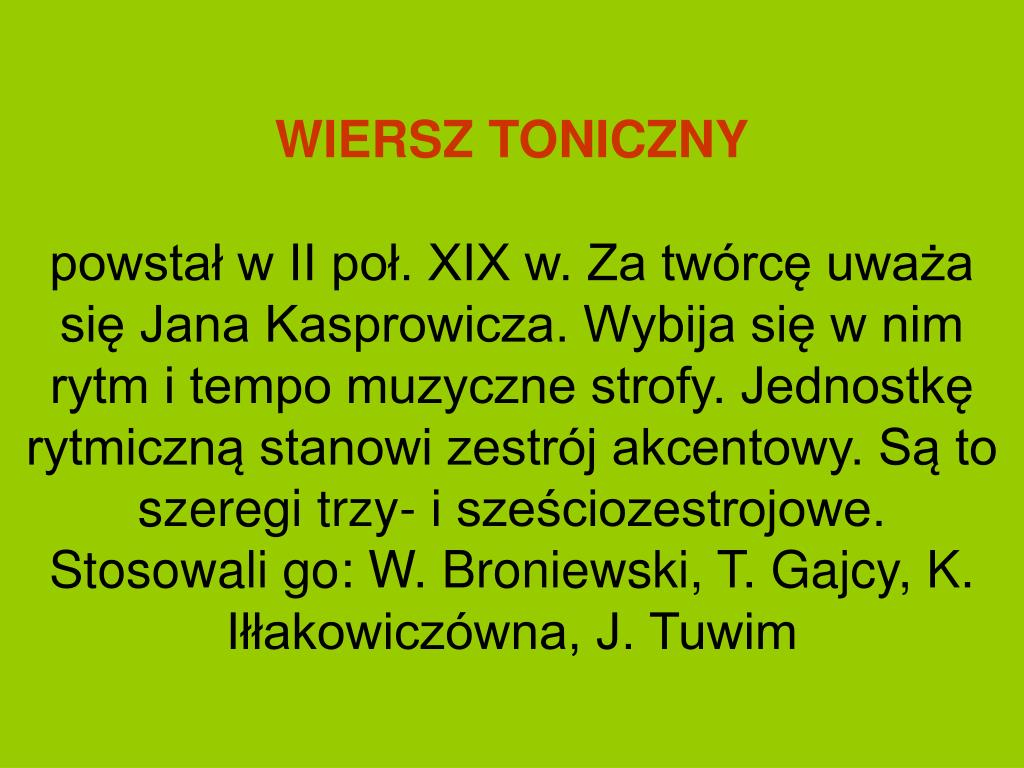 Ppt Systemy Wiersza Powerpoint Presentation Free Download