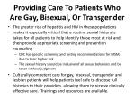 providing care to patients who are gay bisexual or transgender