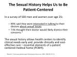 the sexual history helps us to be patient centered