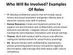 who will be involved examples of roles1