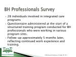 bh professionals survey