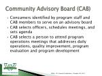 community advisory board cab