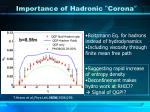 importance of hadronic corona