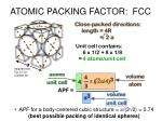 atomic packing factor fcc