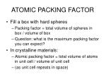 atomic packing factor
