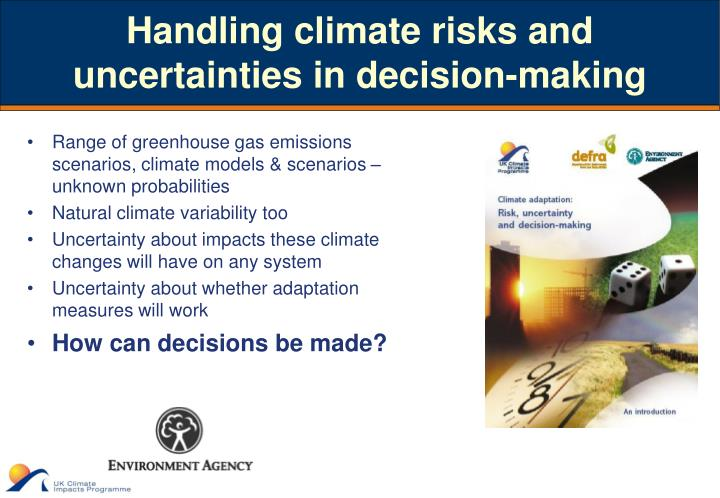 Handling climate risks and uncertainties in decision-making