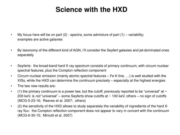 Science with the HXD