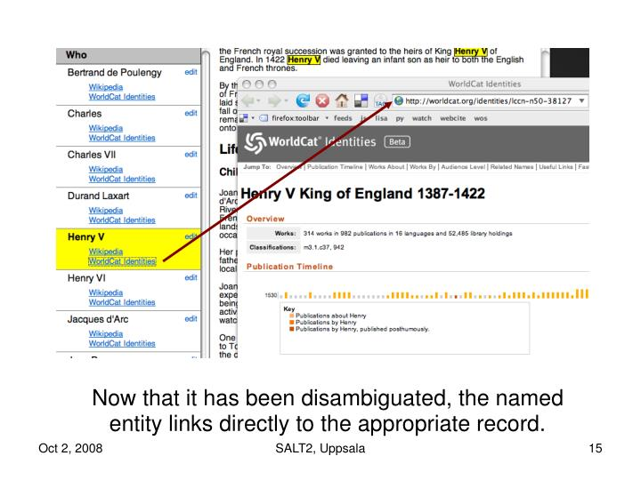 Now that it has been disambiguated, the named entity links directly to the appropriate record.